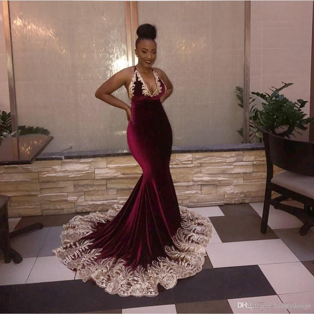 273764c9beba Black Girls Plus Size Burgundy Velvet Evening Dresses 2018 Sexy ...