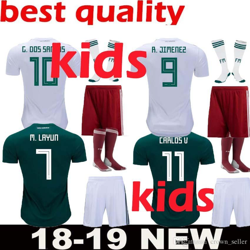 cb14f71f7 2019 2018 World Cup Mexico Soccer Jersey Kids Kit 2018 Mexico Home Green  Soccer Jerseys  14 CHICHARITO Child Soccer Shirts Uniform Jersey+Shorts  From ...