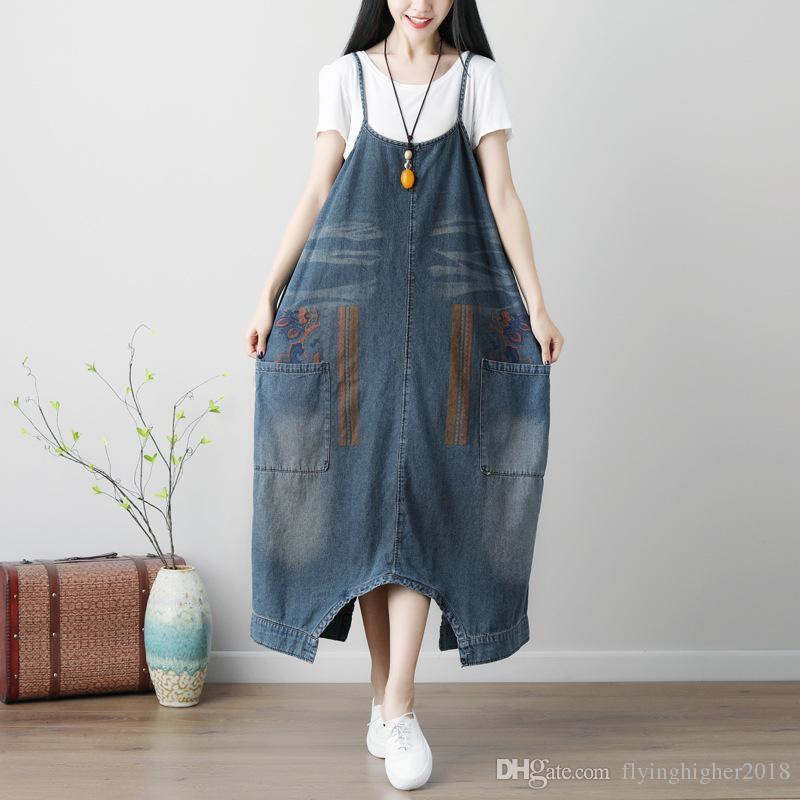 872fbdd537c 2019 Women Plus Size Baggy Cross Rompers Pants Vintage Drop Crotch Jumpsuits  Washed Print Denim Overalls Hip Hop Harem Jeans From Flyinghigher2018