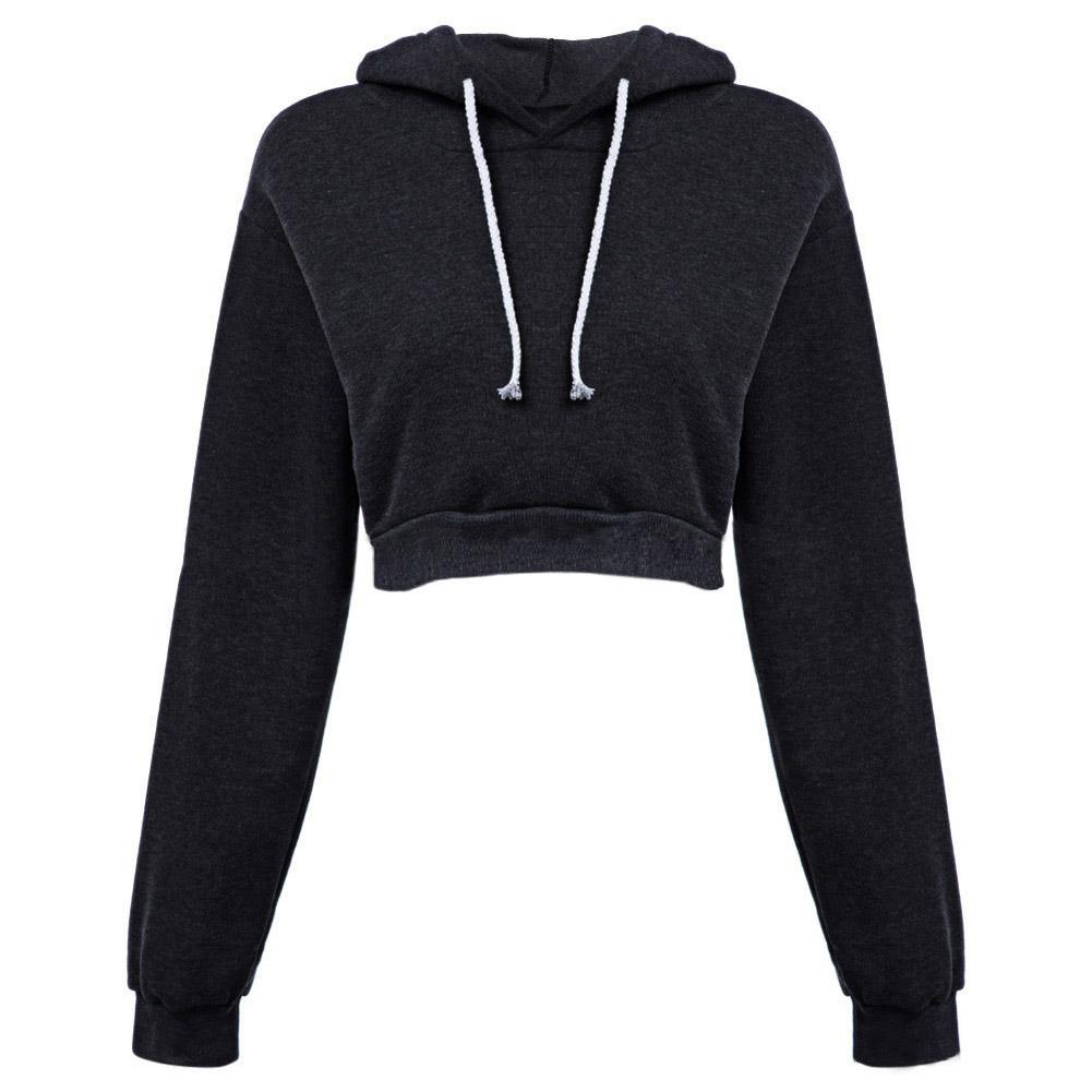 Sexy Cropped Sweatshirt Turtleneck Women Patchwork Hooded Long-sleeve Pullovers Hoodies Gray Adjustable Femme Crop Tops Beautiful In Colour Women's Clothing