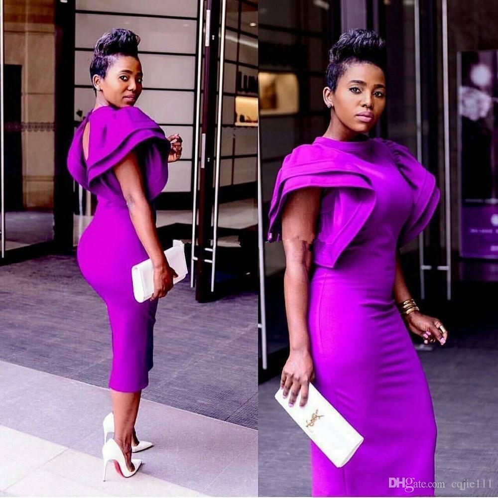 2019 nouveau sexy robe de bal courte cou violet robes de cocktail de bal soirée porter la gaine thé longueur arabe formelle robes de soirée robe de soirée