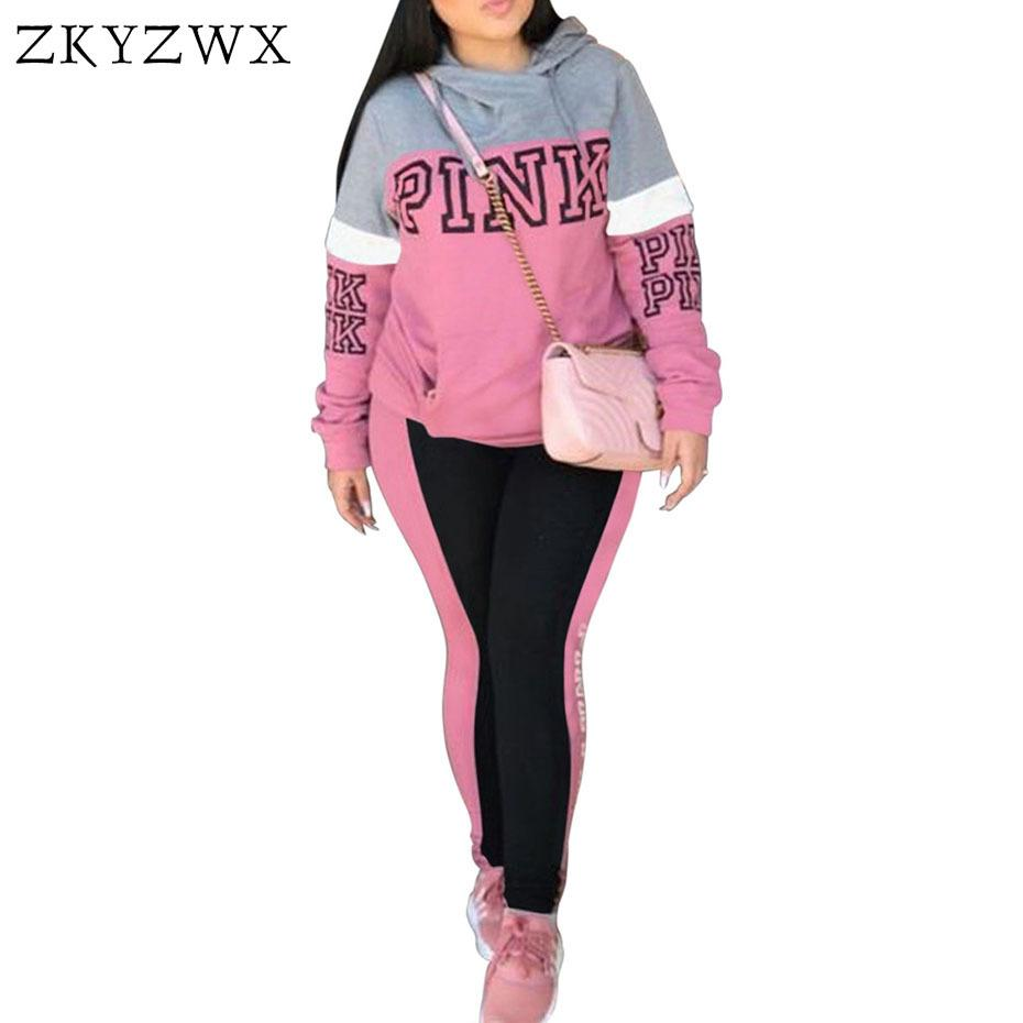 44be1e6baa8e 2019 ZKYZWX Pink Letter Print Tracksuit Women Plus Size Sweatsuit Hoodies  Tops And Pants Suits Casual Outfits Two Piece Set Y1891902 From Tao02