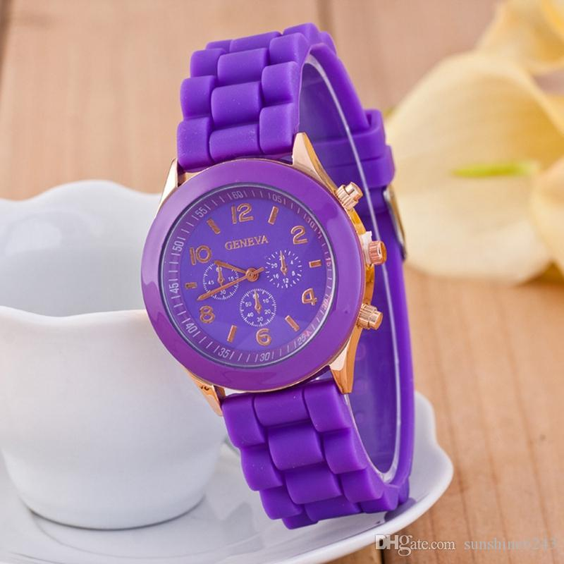wholesale popular geneva silicone rubber jelly candy watches unisex mens womens ladies colorful rose-gold dress quartz watches