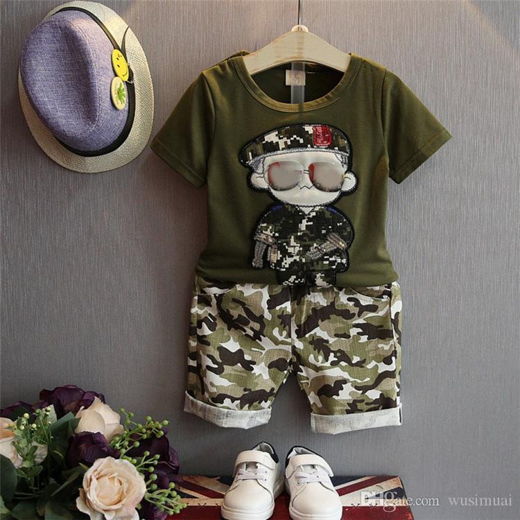 attrayant et durable original pas cher à vendre Acheter Camouflage Bébé Garçon Deux Pièces Ensemble De Mode D'été Militaire  Luxueux Broderie À Manches Courtes T Shirt + Pantalon Ensemble Bébé ...