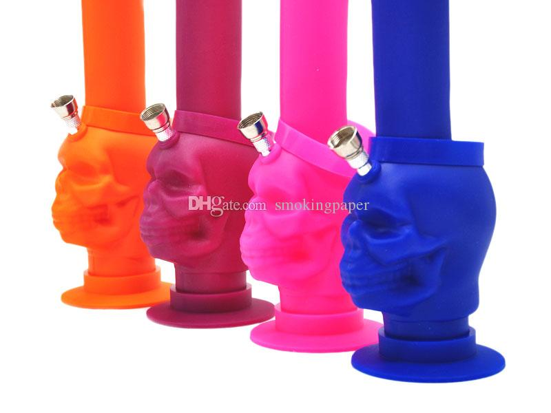 "Silicone Water Pipes Cool Skull Bongs Beaker Pipes 10.5"" inches Tall Foldable Silicone Oil Rigs Indestructible Dab Smoking Hookah Pipe Sale"