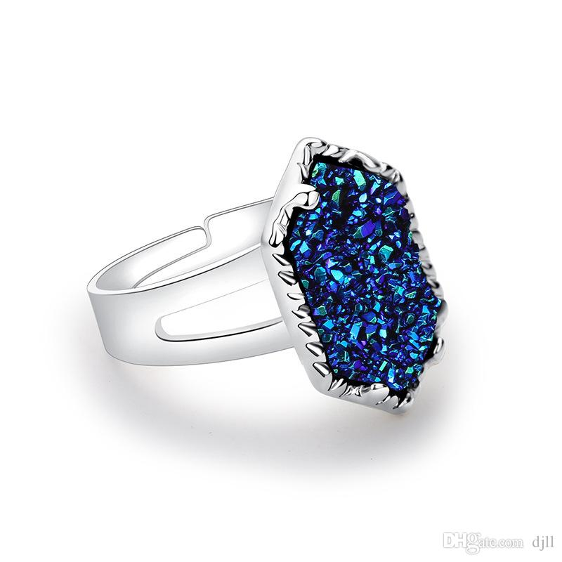 Crystal Cluster Gemstone Rings Sliver Rose Gold Blue Purple Imitation Stone Turquoise Ring Jewelry Wedding Rings for Women Lady Accessories