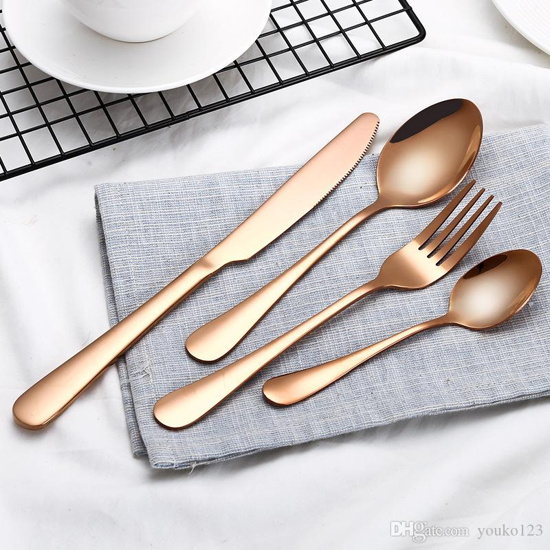 Best Selling Creative Color Western Steak Fork Spoon High End Cutlery Set Black Gold Plated Stainless Steel Knife And Fork Fall Dinnerware Sets Fine China ...  sc 1 st  DHgate.com & Best Selling Creative Color Western Steak Fork Spoon High End ...