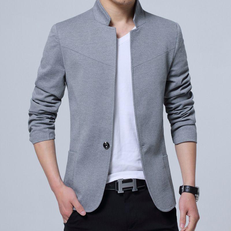 Men's Casual Slim Fit Solid Suit Blazer Jacket Men Wedding Dress Blazer Male Stand Collar Blazer Masculino Pluse Size FS-125