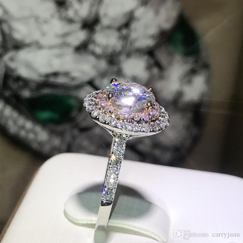 Виктория Wieck ручной работы роскошные ювелирные изделия 925 стерлингового серебра круглой огранки розово-белый сапфир CZ Алмаз драгоценных камней цвет женщины обручальное кольцо
