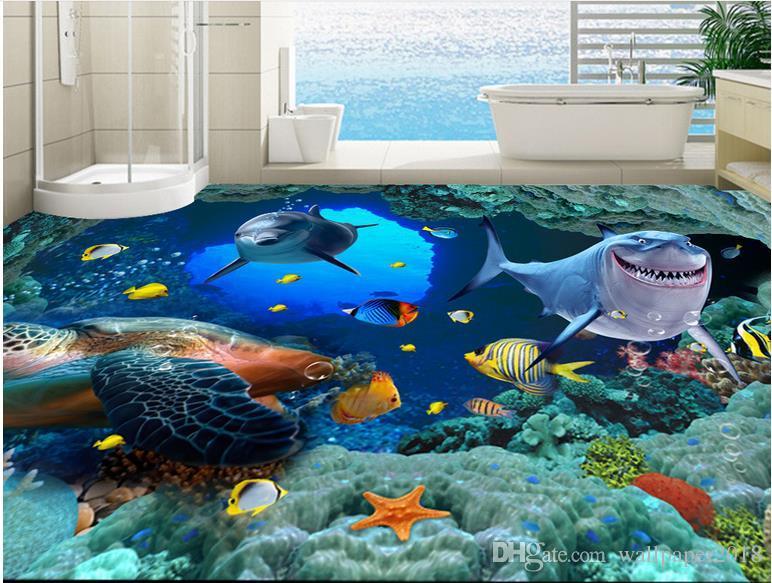 wallpapers 3d wall Dolphin Surf Ocean World 3D Bathroom Living Room Floor Tiles wallpaper for bathrooms