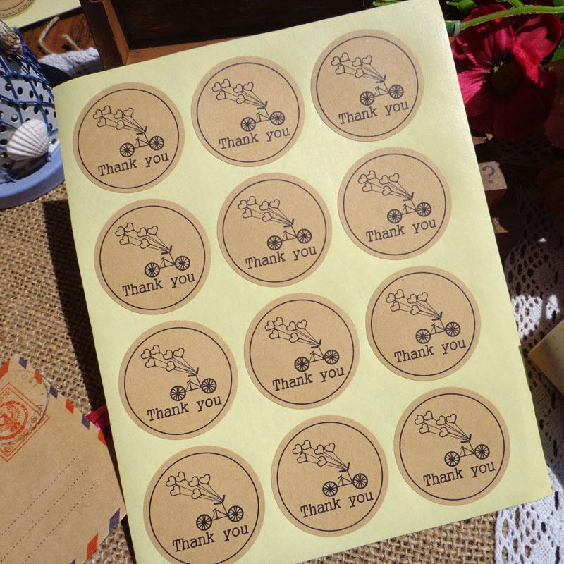 Round Kraft Paper Seal Sticker Romantic Bicycle Heart Holiday Thank