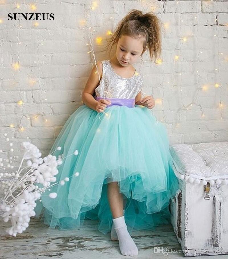 564eee910798e High Low Turquoise Flower Girl Dresses Silver Sequins Bodice Short Front  Long Back Kids Party Dress Children Prom Gowns