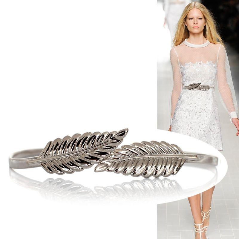 숙녀 합금 탄성 탄성 얇은 허리 체인 잎 버클 숙녀 벨트 드레스 장식 허리 체인 단단한 금속 잎 벨트