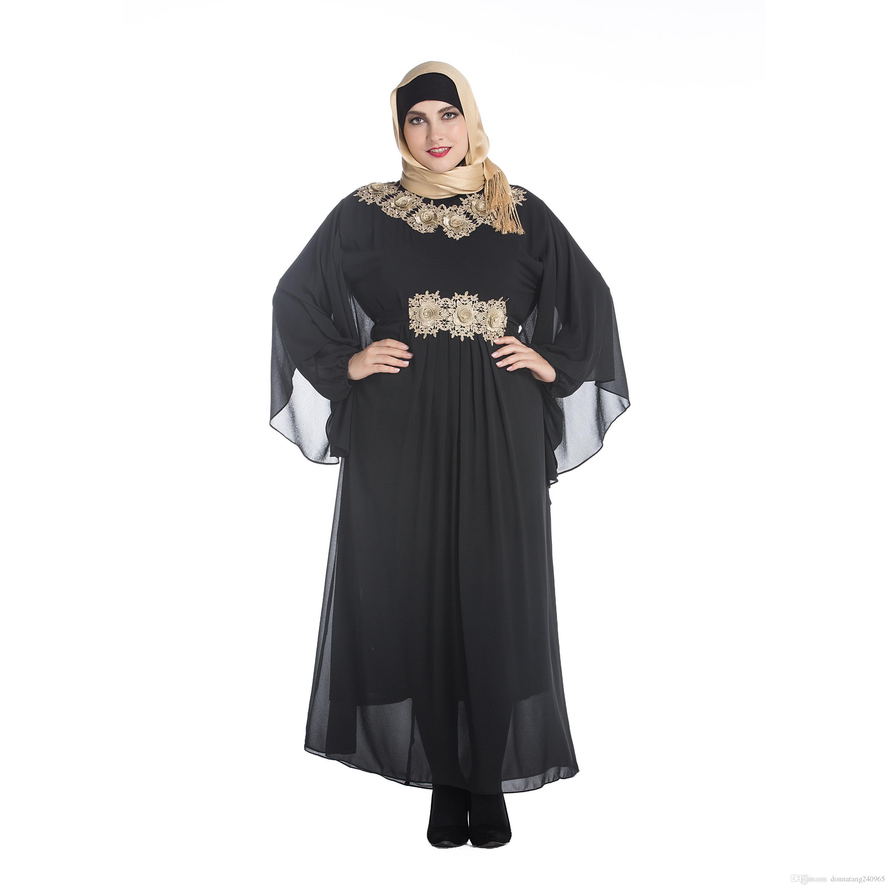 44c64c1a294 Tamanho grande Gordura Mulheres Roupas Decalques Muçulmanos Malásia Árabe  Vestes Oriente Médio Feminino Morcegos Manga Longa Plus Size Vestido Maxi  Bordado ...
