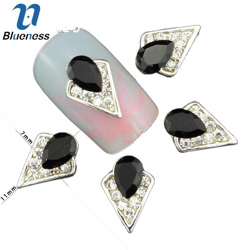 3d Black Jewelry Nail Art Decorations Geometry Silver Alloy Studs