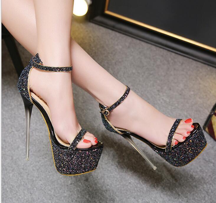 Compre Tacones De Mujer 2018 Sandalias De Plataforma Zapatos De Novia  Zapatos De Tacón Alto Zapatos De Brillo De Cristal Bombas De Color Rosa  Sandalias De ... 957f2cfe9c55a