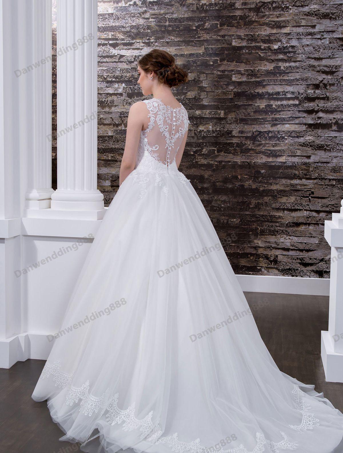 Beauty White Tulle Straps Applique A-Line Wedding Dresses Bridal Pageant Dresses Wedding Attire Dresses Custom Size 2-16 ZW608074