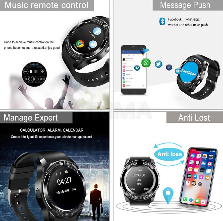 V8 Smart Watch Bluetooth Smartwatch Support SIM TF Card With Camera For iOS iPhone Samsung Android Notification Sync Smart Watches
