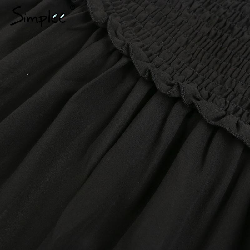 Camicetta sexy senza maniche a spalla semplice Simplee Off Camicia a maniche lunghe estiva in chiffon con maniche Ruffle 2018 Camicetta estiva elegante nera in cotone donna