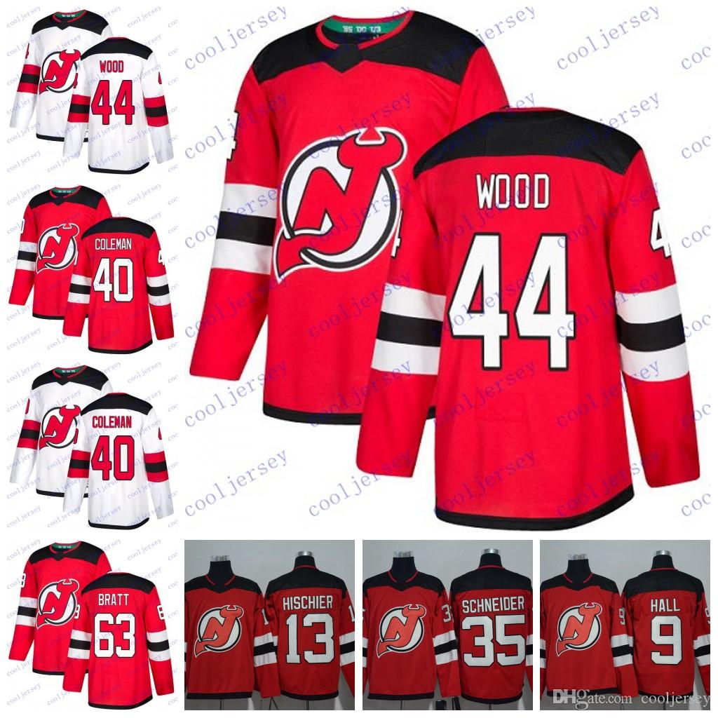new product 0b748 fc603 2018 New Jersey Devils #44 Miles Wood 45 Sami Vatanen 63 Jesper Bratt 40  Blake Coleman Hockey Jerseys Stitched White Red