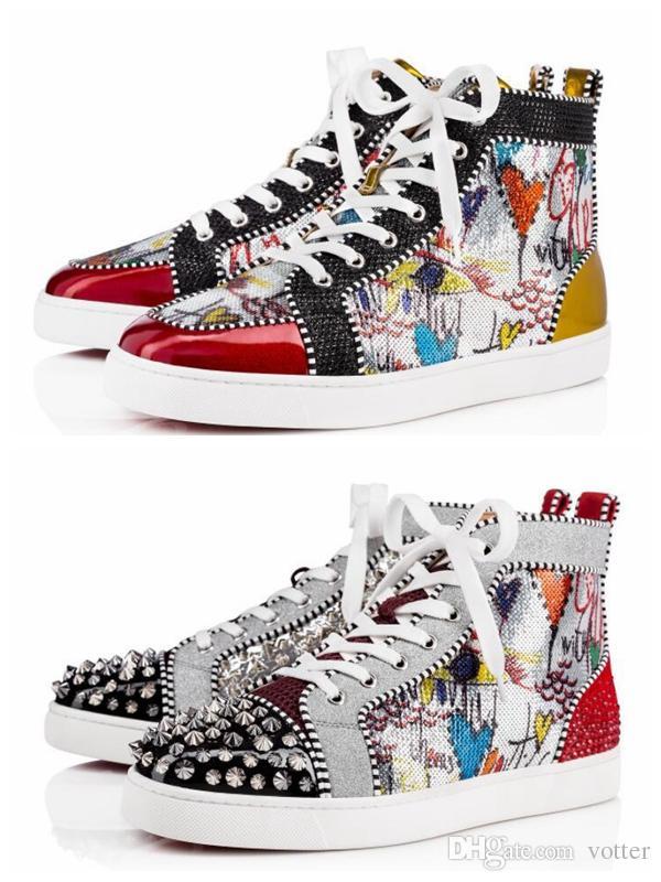 63868f5b20e 2018 New Season Red Bottom Sneakers Men Shoes Luxury Print Silver Pik Pik  No Limit RARE studs and rhinestones graffiti Zapatos Chaussures