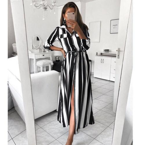 fd067606d06 Ladies Long Maxi Button Shirt Dress Women Autumn Long Sleeve Colourful  Striped V Neck Dresses Green And White Dress For Party Pretty Long Dresses  For ...