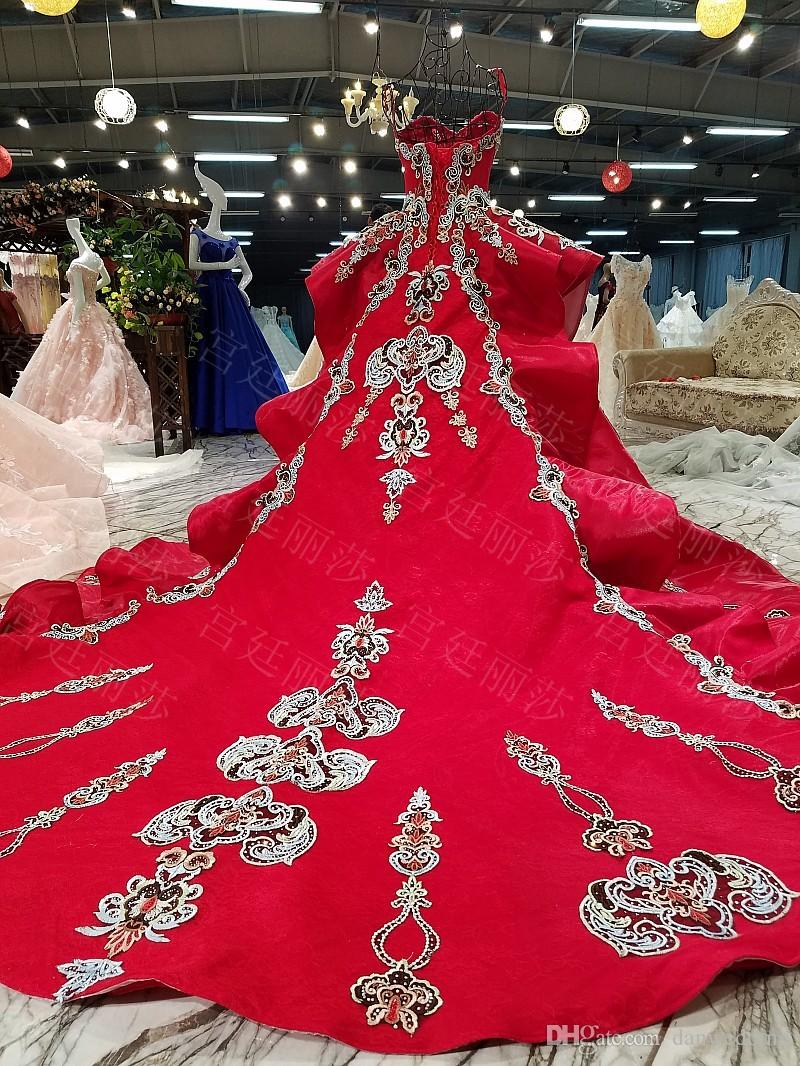 China Red Sweetheart Train Applique Beads Ball Gown Wedding Dresses Bridal Dresses Events Dresses Custom Size 6 8 10 12 W307143
