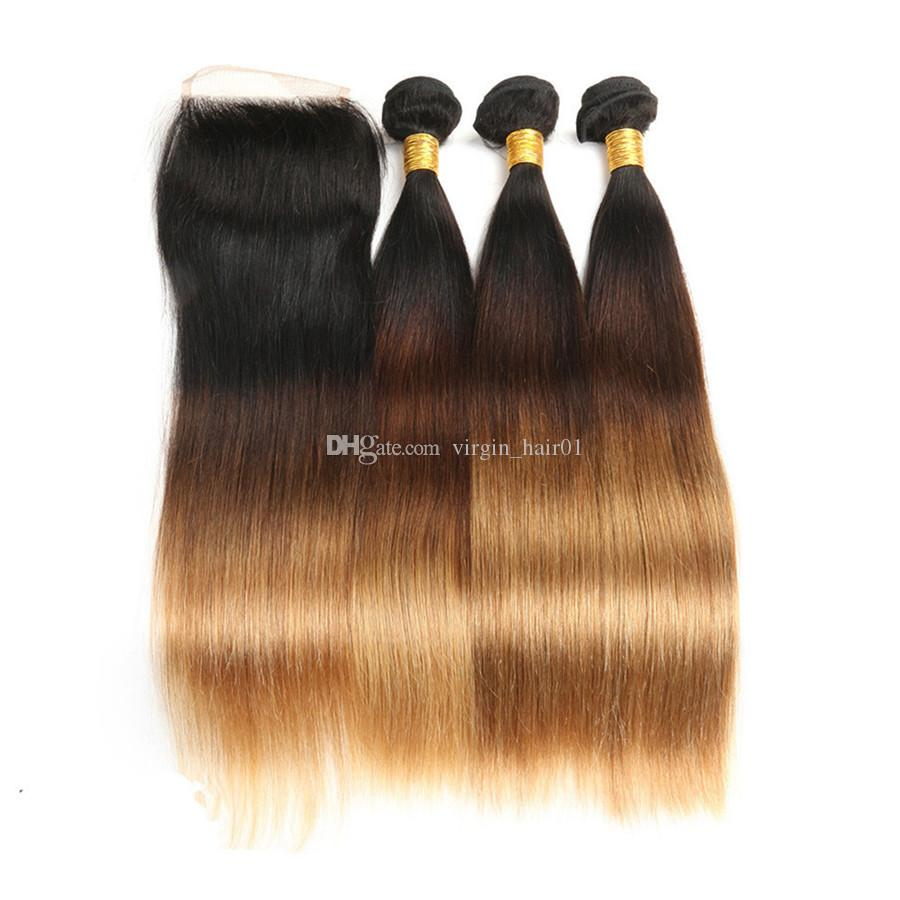 Three Tone Peruvian Virgin Hair With Lace Frontal Silk Straight 1b 4 ed Honey Blonde Unprocess Hair With 13*4 Frontal Closure