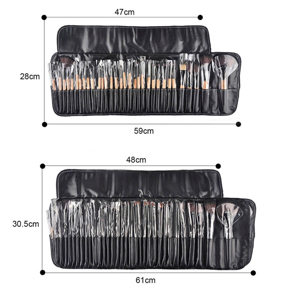 32 Stücke Professionelle Holz Make-Up Pinsel Kosmetik Make-Up Pinsel Set Roll Up Fall Eyeliner