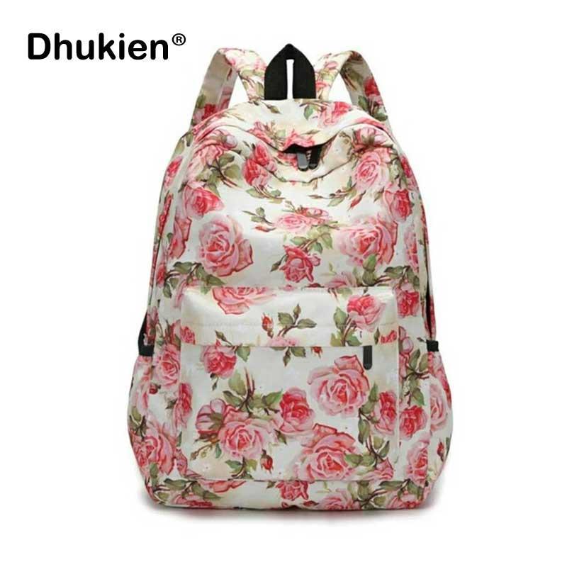 013cc430e556 Women Floral Backpack Printing School Bags For Teenager Female Printed  Canvas Travel Rucksack Girl Flower Bookbags Black Backpack Camera Backpack  From ...