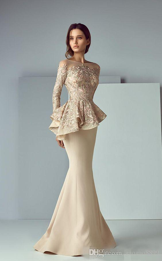 Lace Peplum Long Formal Evening Dresses 2019 Mermaid Prom Dresses Long Sleeve Sheer Neck Dubai Arabic Saiid Kobeisy Party Gowns
