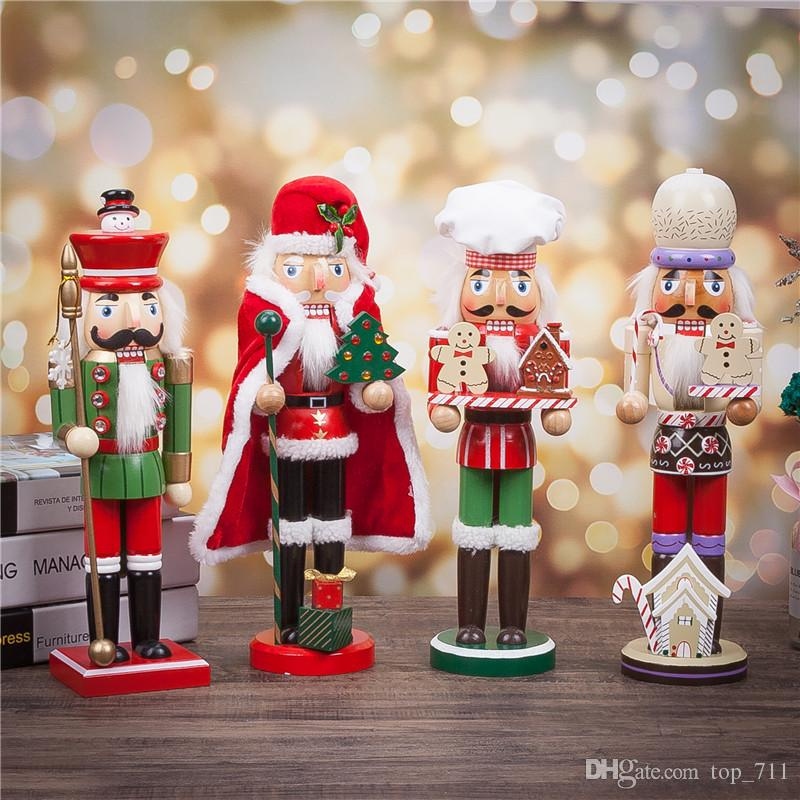 Christmas Nutcracker.Christmas Nutcrackers Santa Snowman Cook H15 Home Decor Wooden Toy Gift