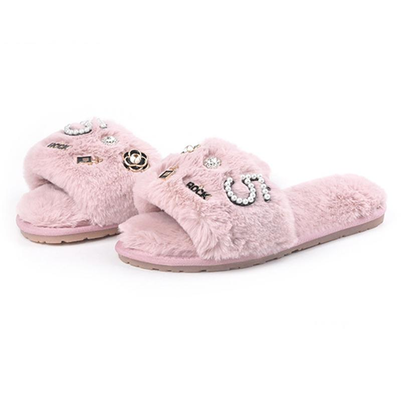 c29d446dc35 2018 Fur Shoes Female Word Drag Home Wear Non Slip Flat Bottom Plush  Slippers Women Fur Sliders Women Shoes Winter Home Slippers Slippers For  Women Cheap ...