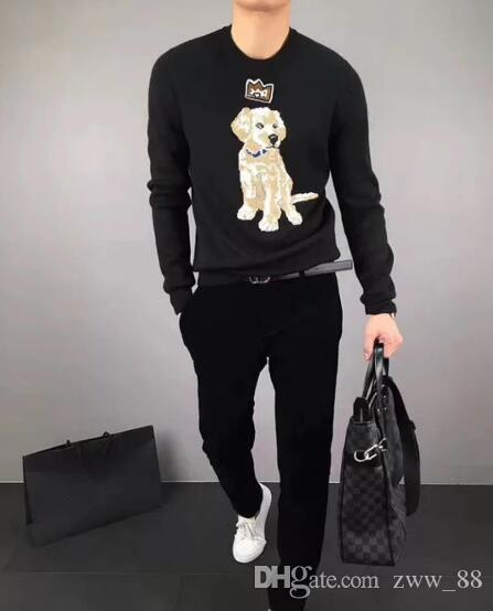 81c2ab05b 2019 Latest Black Tiger Sword In Dog Embroidery Winter Casual Sweater Brand  Clothing Long Sleeve Mens Sweaters Classic Shirt Pullover O Neck Kni From  Zww_88 ...