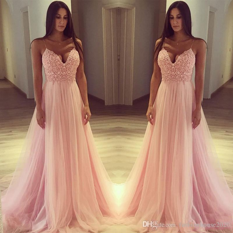 c6dfe1ab44a4 2018 Baby Pink A Line Prom Dresses Spaghetti Straps Sleeveless Lace Applique  Beads Top Backless Sweep Train V Neck Tulle Party Evening Gowns Long Prom  ...