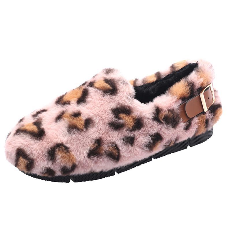 Venta al por mayor Zapatos de leopardo Calientes Zapatillas de invierno Mujer Suede Piel de felpa Zapatillas de casa Zapatos planos Zapatos de mujer