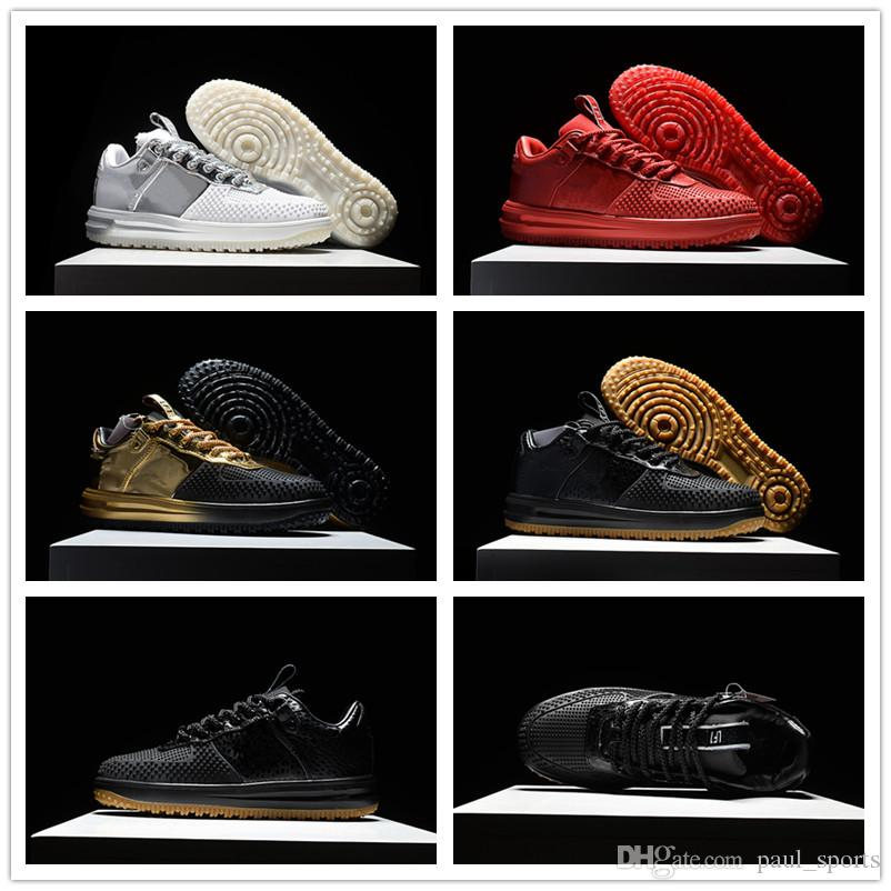 1bc7fe51991e 2018 New Arrival Lunar 1 Duckboot Black Gold Red Silver Yellow Gum  Basketball Shoes For Good Quality 1s Men Designer Sneakers Size 40 46  Basketball Shoes ...