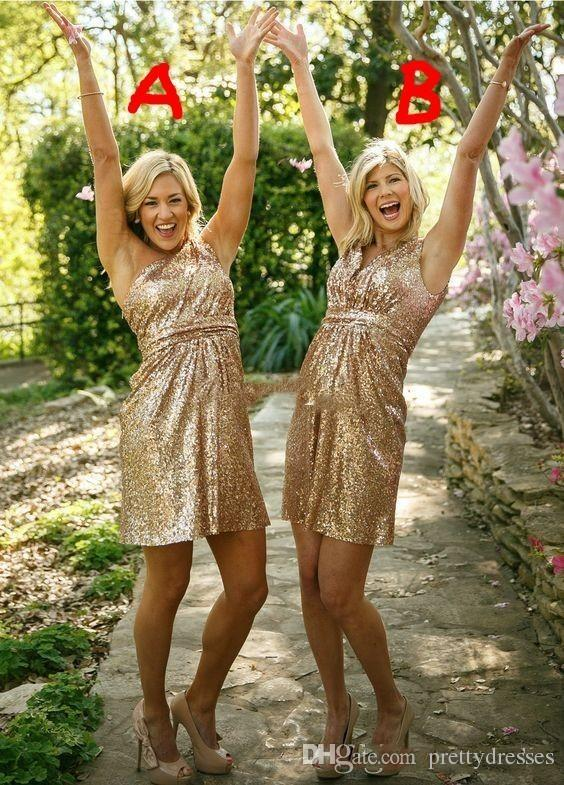 2018 Short Gold Bridesmaid Dresses Short Honor Of Maid Formal Gowns For Summer Wedding Guest Bling Bling Sequins Cocktail Party Gowns