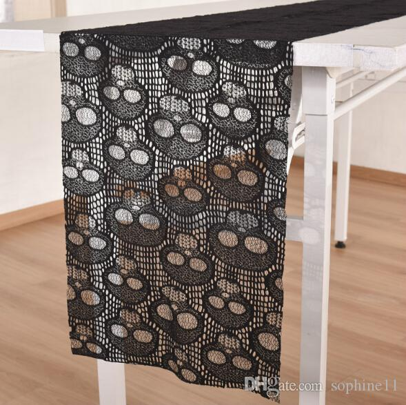 Charmant Black Lace Tablecloth Halloween Skull Lace Table Runner Halloween Table  Decoration Event Party Supplies Home Textile White Table Cloth White Table  Cloths ...