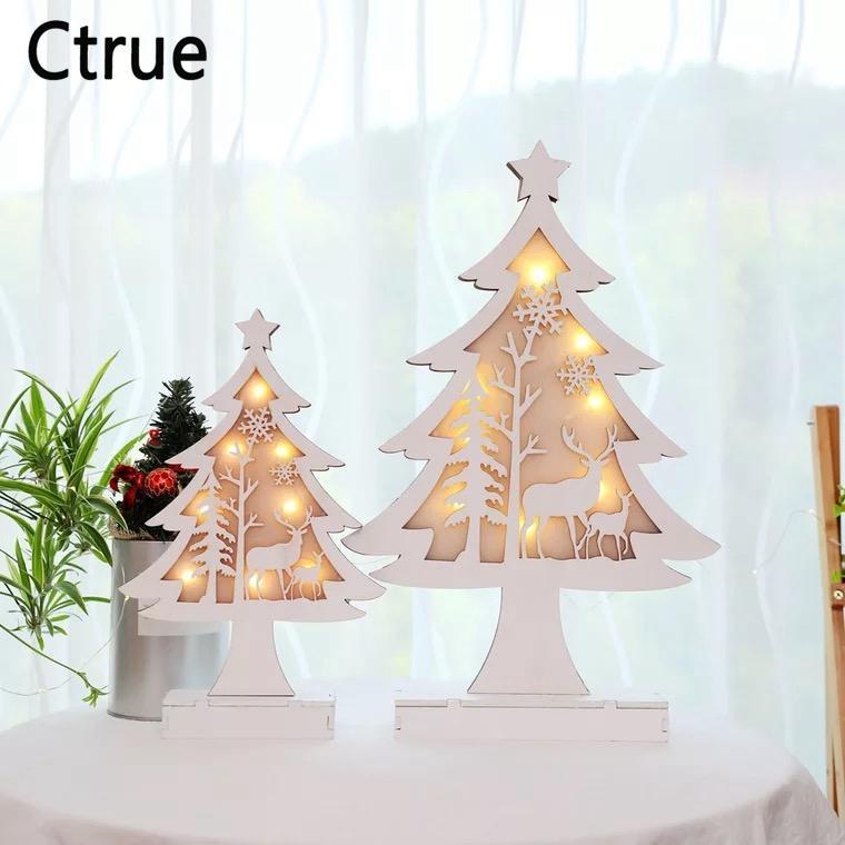987b85f00a4 Compre Feliz Árbol De Navidad De Madera Con Colgantes De Mesa De Luz LED  Adornos Para Árboles De Navidad Decoración Navideña Feliz Año Nuevo Regalos  Para El ...