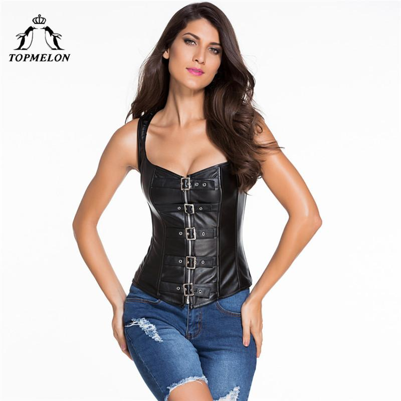 9f8ad1b361a 2019 TOPMELON Gothic Steampunk Corselet Sexy Corset Women Bustier Slimming  Shapwear Black Strap Leather Shows Party Club Corset Tops From Lvyou09