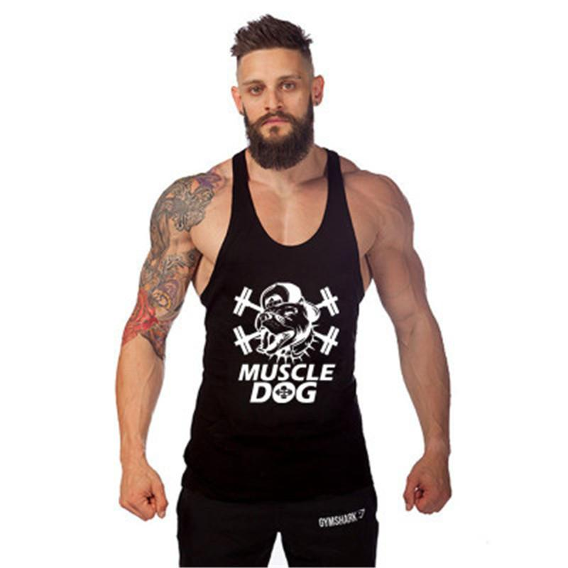 91372567f3bc 2019 2017 New Solid Color Tee Tops Summer Bodybuilding Fitness Men Vest Tank  Top Workout MUSCLE Dog Print Sportswear Brand Clothing From Honhui
