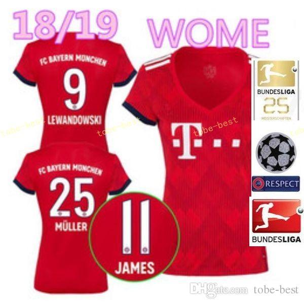 buy popular c68fb c705c FC Bayern Munich Women LEWANDOWSKI Jersey 2018 2019 Bundesliga Lady ROBBEN  JAMES MULLER HUMMELS Woman Football Shirt Kits Home Red Green