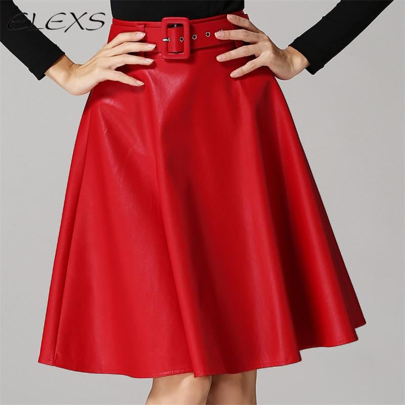 2019 ELEXS 2017 PU Leather Long Black Red Skirt Women S Winter High Waist  Ladies A Line Suede Leather Skirts With Belt E7973 From Sizhu f9f4d866ee