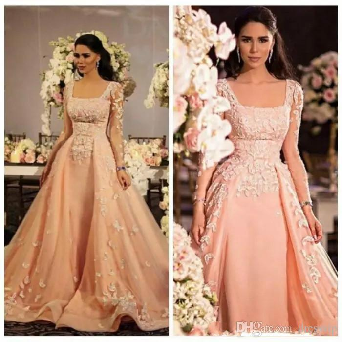 Arabic Indian Long Sleeves Prom Dresses for Women Lace Applique Formal Evening Dresses Square Zipper Plus Size Party Gowns Plus Size