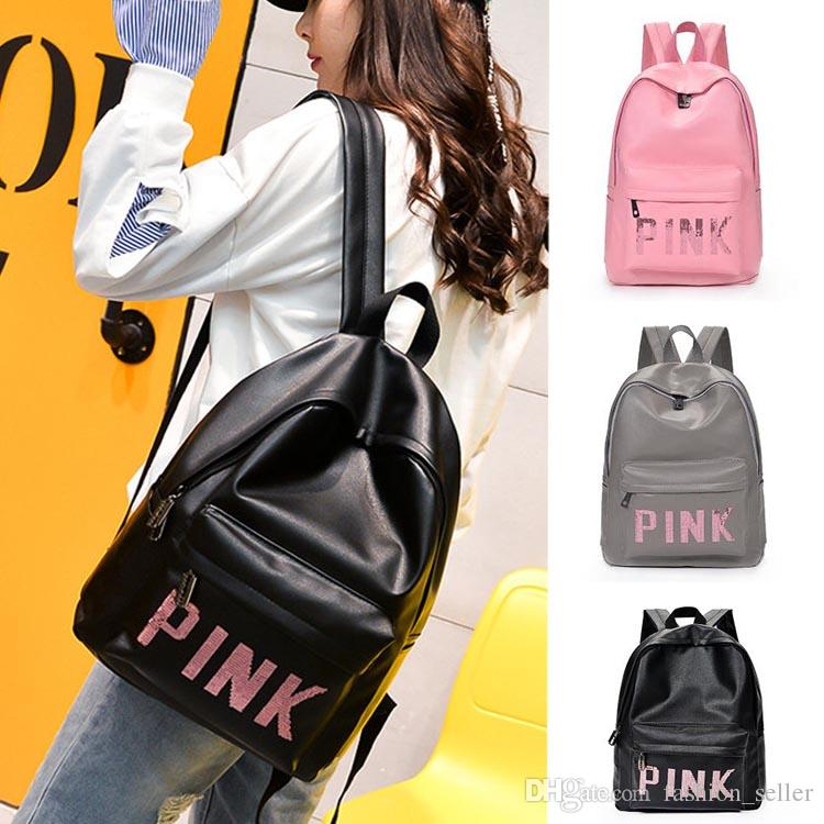 Fashion Pink Style Girls Backpacks PU Waterproof Travel Bags Teenager  Backpack Students School Bags Sequins Size 30 41 13 Cm Backpacks Travel Bags  Teenager ... eb6f9edee0375
