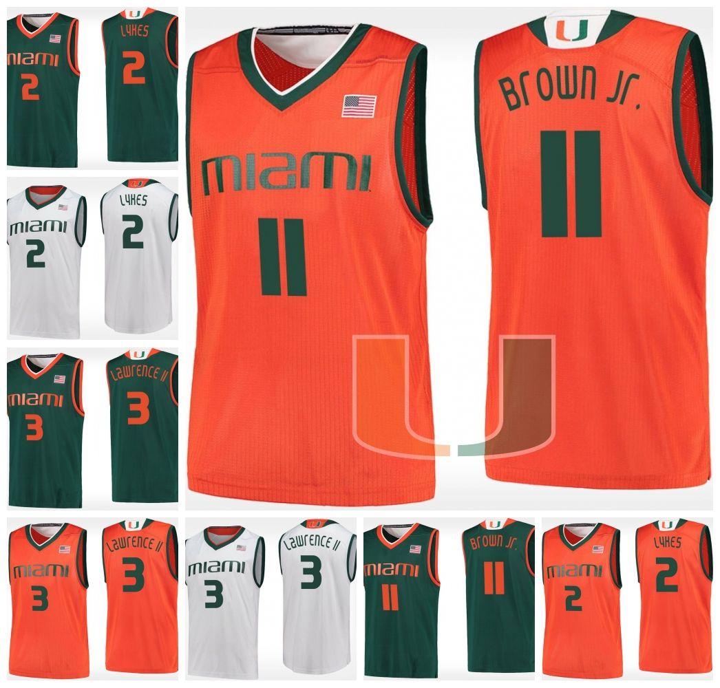 Miami Hurricanes  11 Bruce Brown Jr. 3 Anthony Lawrence II 2 Chris Lykes 1  Dejan Vasiljevic NCAA College Basketball Jerseys S 3XL UK 2019 From ... bef30e468