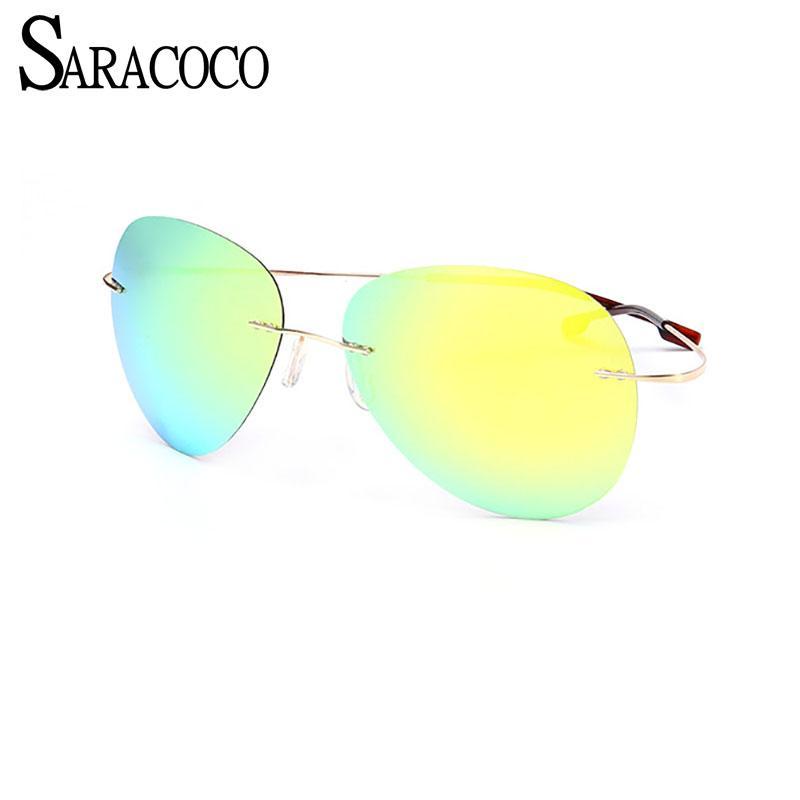 8c91cfae06 Compre Marco De Titanio SARACOCO Sin Montura Polarizado Conducción Gafas De  Sol Hombres 2017 Mujeres Marca Diseño De Gafas De Sol Para Conducir CO041 A  ...