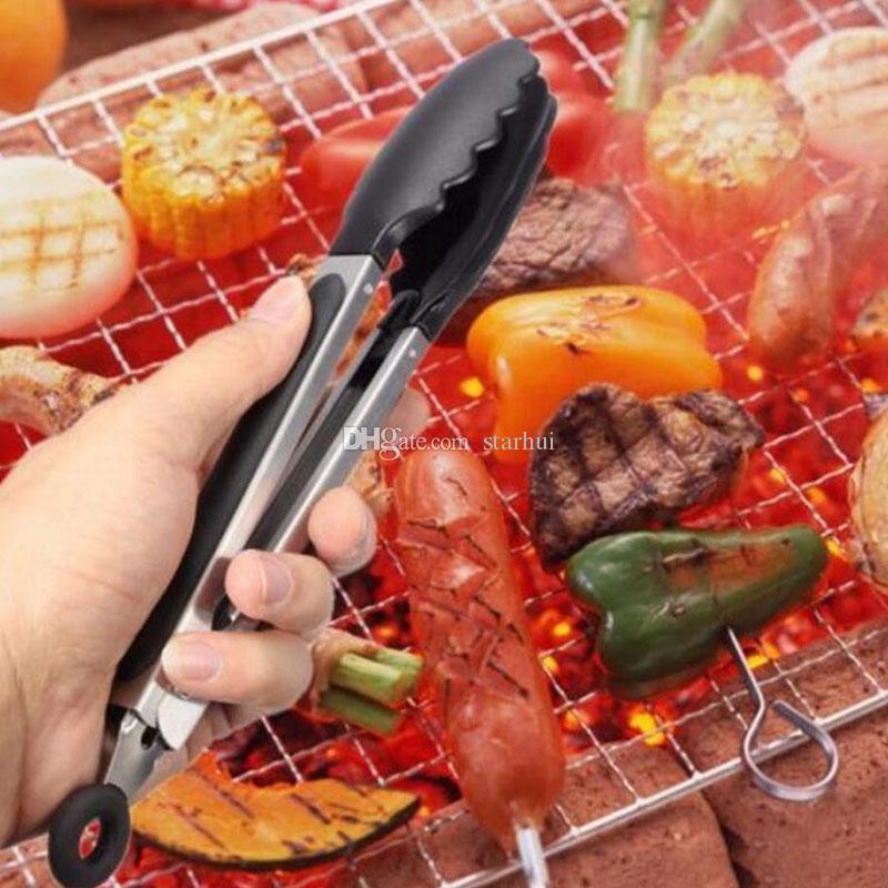 / set BBQ Food Clip Résistant À La Chaleur En Silicone En Acier Inoxydable Cuisine Cuisson Gâteau Pain Outils De Cuisine Accessoires En stock WX9-13