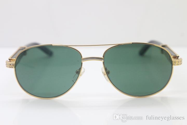 작은 큰 돌 안경 핫 새로운 스타일 569 남여 블랙 믹스 화이트 버팔로 호른 안경 남성 선글라스 금속 C 장식 골드 프레임 유리